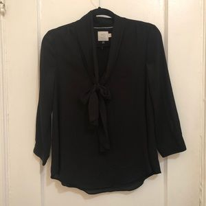 Anthropologie HD Black Blouse with Ties